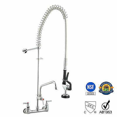 12 Wall Mount Commercial Pre-rinse Faucet Kitchen Pull Out Down Sink W Sprayer