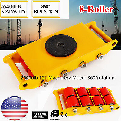 360industrial Machinery Mover 12t 26400lb Heavy Duty Machine Dolly Skate Roller