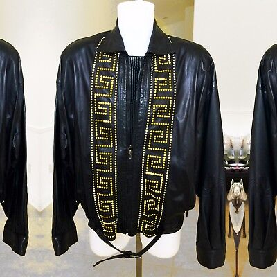 GIANNI VERSACE black studded leather jacket with zip Italian size 52 from 1992