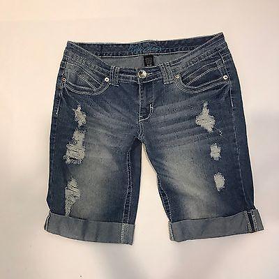 Ariya Jeans Women's Distressed Cuffed Denim Bermuda Casual Jean Shorts 11/12 Euc