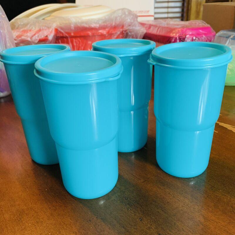 Tupperware Tumbler Set 4 Aqua Vasos Caribe