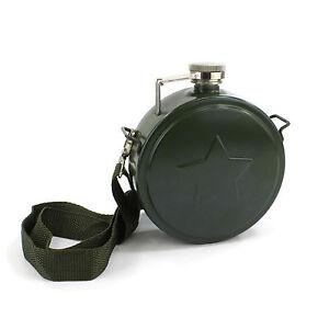 Novelty Army 500ml 18oz Hip Flask Star Emboss with Shoulder Strap for Festivals