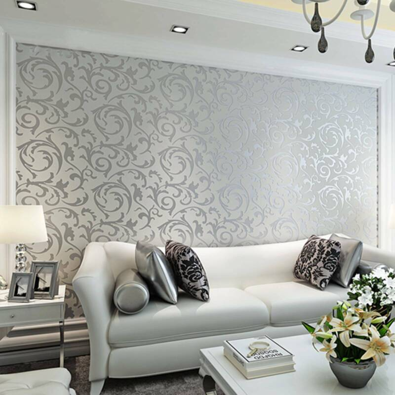 Home Decoration - Modern Home Decor Metallic Textured Damask Embossed Wallpaper Soft Gray Silver