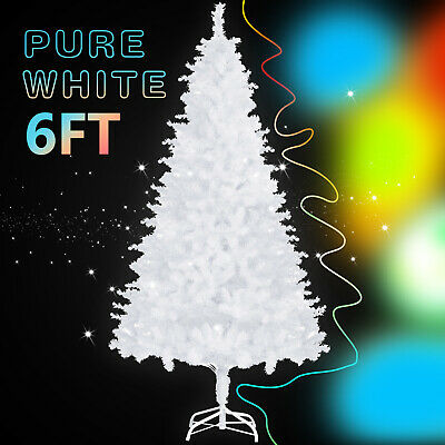 6FT Christmas Tree White Artificial Pine Xmas Holiday Home Shop Decoration Metal ()