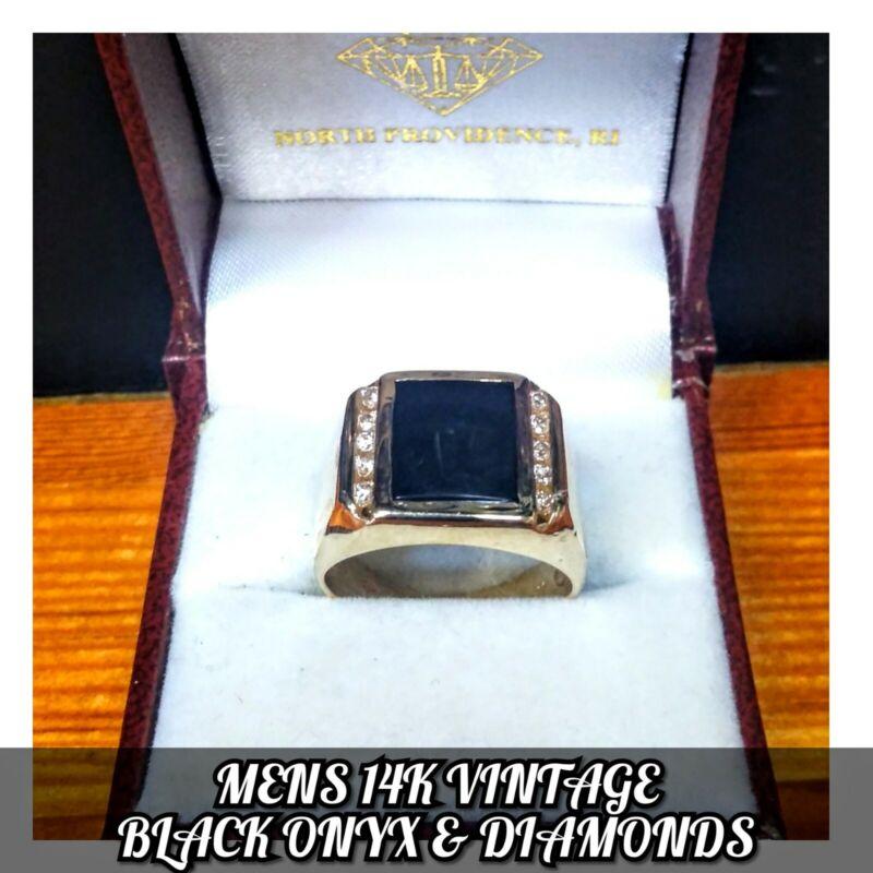 MENS 14K VINTAGE BLACK ONYX & DIAMOND PINKY RING