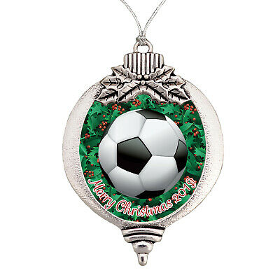 Soccer Ball Player Mom  Merry Christmas 2019 Bulb Silver Ornament Gift Futbol