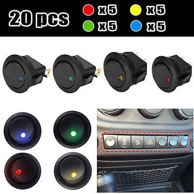 20X LED Dot Car Boat Auto Round Rocker ON/OFF Toggle SPST Switch 12V Waterproof