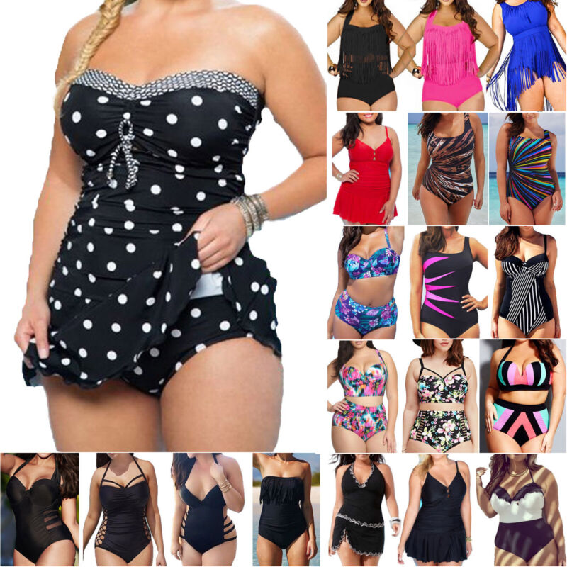 Damen Tankini Bikini Bademode Badeanzug Monokini Schwimmanzug Badekleid 44 46 48