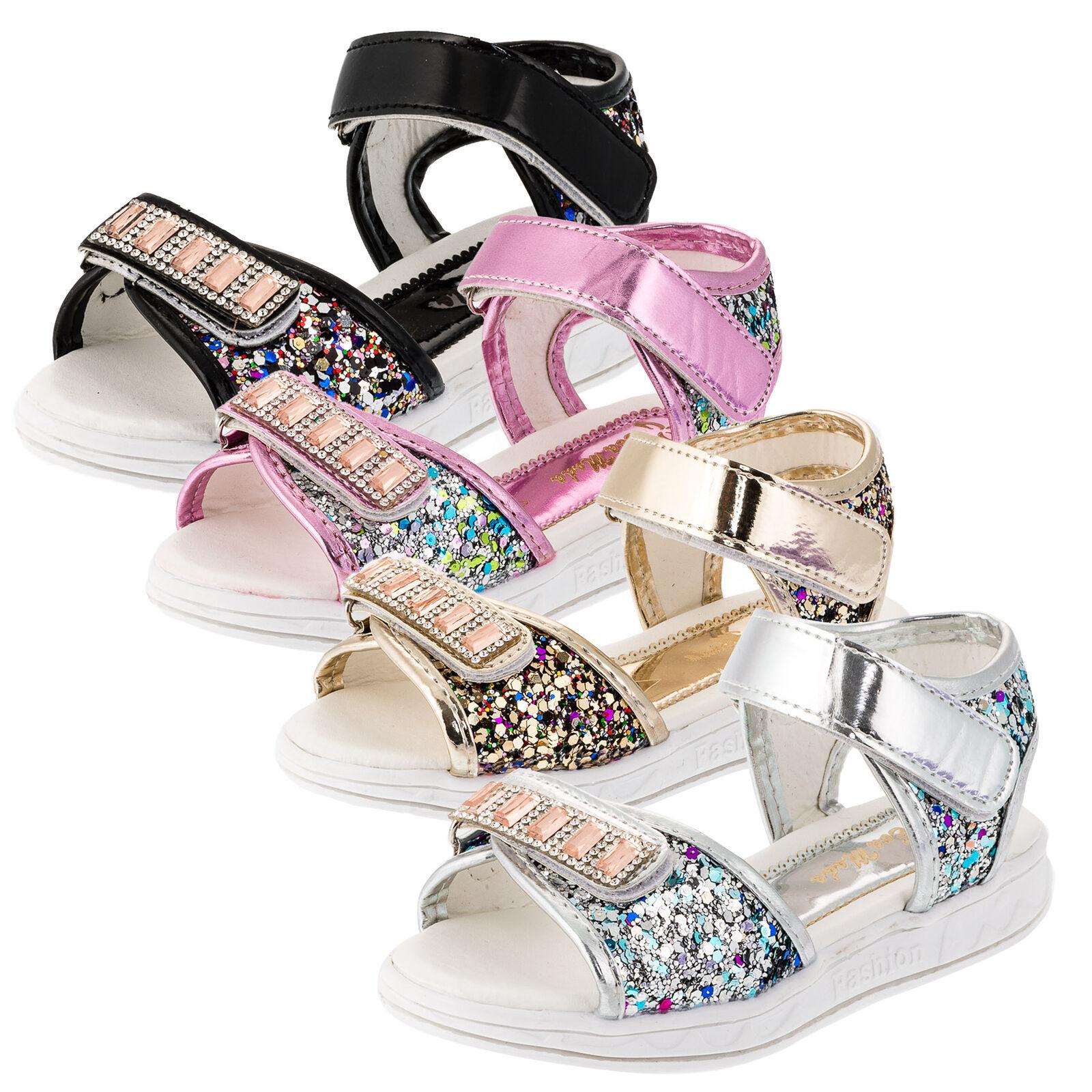 Trendige Mädchen Sandalen Sandaletten Kinder Schuhe Hochzeit Freizeit Neu