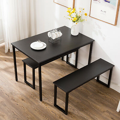 3 Sets Dining Table And Chairs 2 Bench Stools Dining Room Sets Bar Kitchen For 6