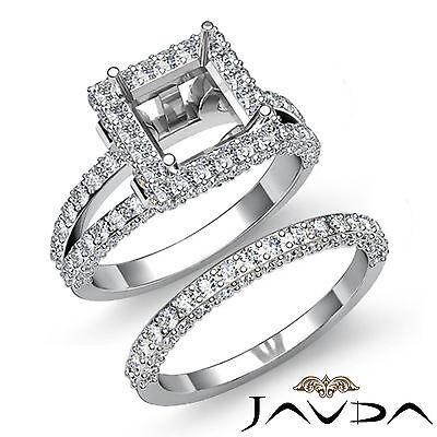 Princess Halo Diamond Semi Moun tEngagement Ring Bridal Set Platinum 950 2.78Ct