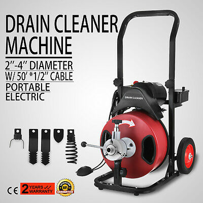 Commercial 50ft 12 Electric Drain Auger Drain Cleaner Machine Snake W Cutter