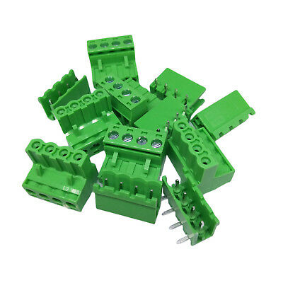 Us Stock 10set 2edg 4 Plug-in Screw Terminal Block Connector 5.08mm Right Angle