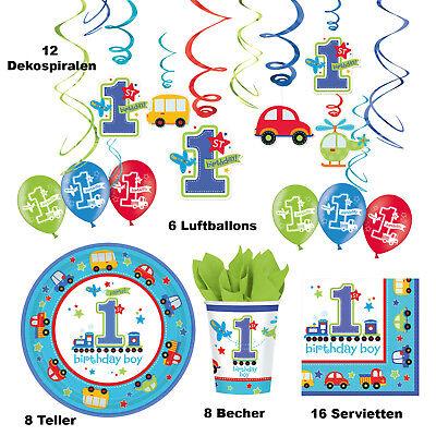 50 tlg. Deko Party Set Junge 1. Kindergeburtstag  Erster Geburtstag Autos blau  ()