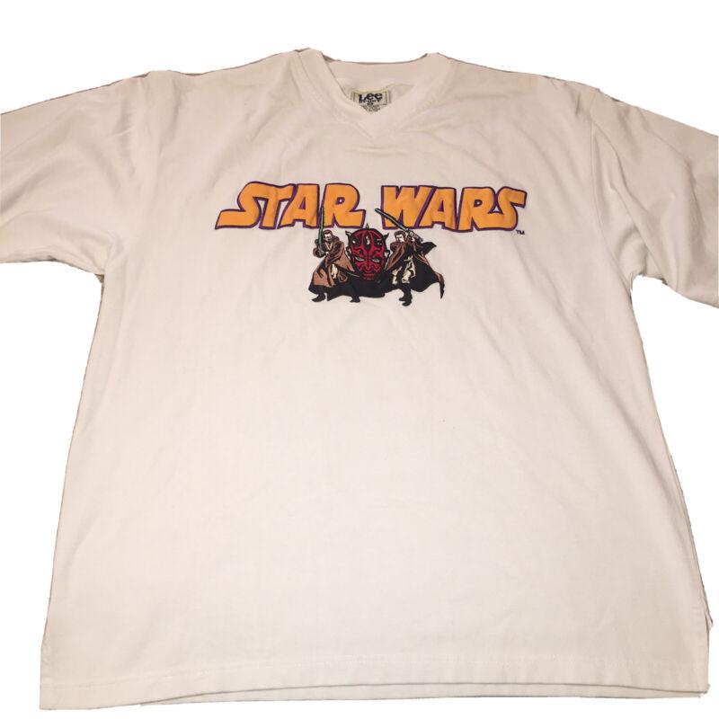 VTG Star Wars Episode 1 Lee Sport Darth Maul Embroidered Shirt Jersey Sz XL