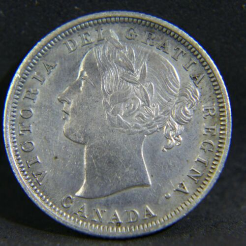 1858 Canada 20 Cent Piece XF Details dark spots, lightly cleaned.