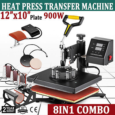 8in1 12 X 10 Heat Press Machine Digital Sublimation T-shirt Mug Plate Hat