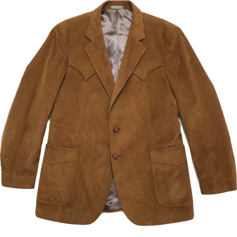 Brown Corduroy Blazer Sport Coat 44R  Vintage BW Western Wear