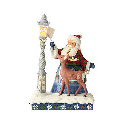 Jim Shore*MASTERPIECE SANTA & DEER by LIGHTED LAMP POST*2017*CHRISTMAS*6000673
