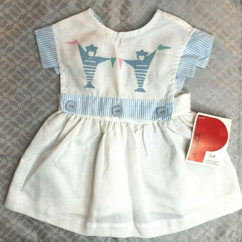 Vintage Polly Flinders Classics 18 mo Baby Girl Pinafore White Blue Buttons NOS