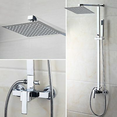 "US Chrome 8"" Rain Shower Faucet Set Wall Mounted Tub Shower Mixer Tap"