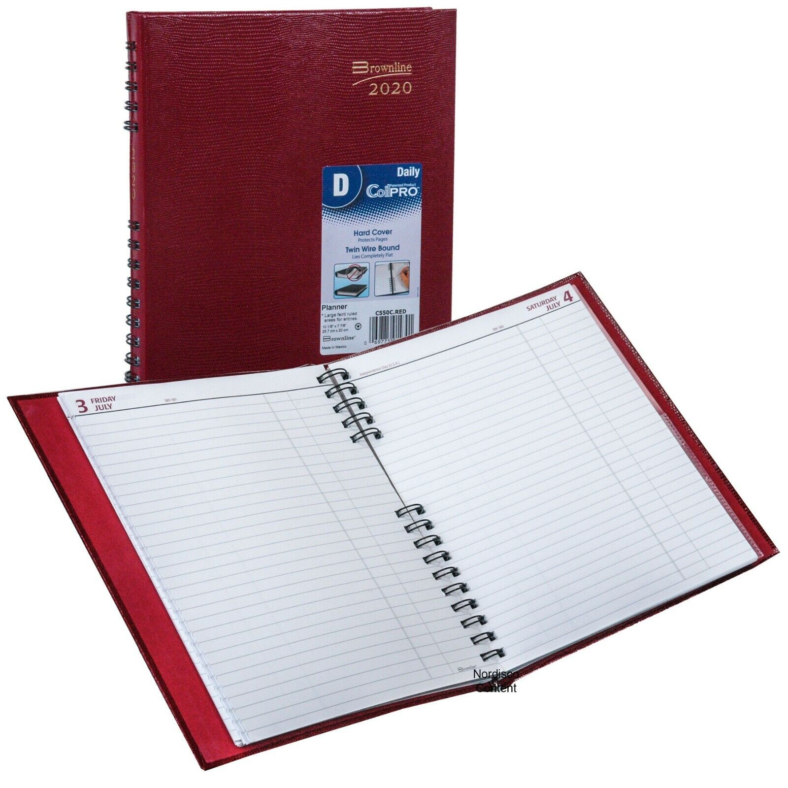 2020 Brownline C550C.RED CoilPRO Daily Planner, Hard Cover,