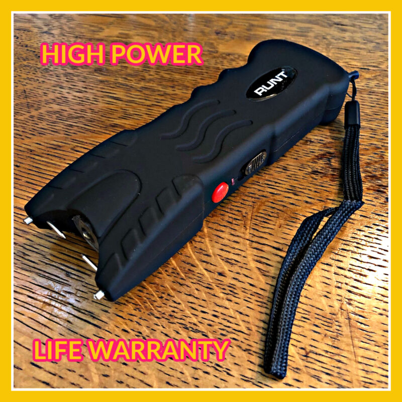 RUNT HEAVY DUTY 800BV Stun Gun Rechargeable LED Flashlight Disable Pin Safety