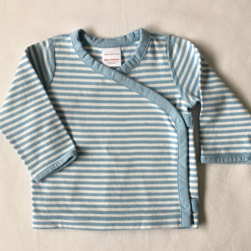 Hanna Andersson Shirt 60 3 6 Months Blue White Striped Shirt Crossover Snap