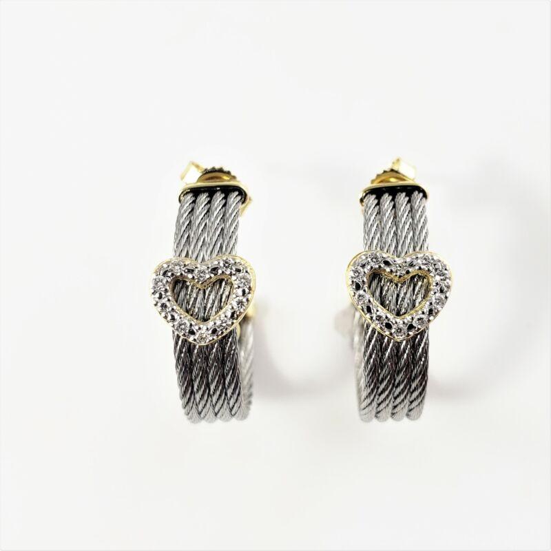 Vintage Phillipe Charriol Steel and 18K Gold Diamond Heart Hoop Earrings #8561