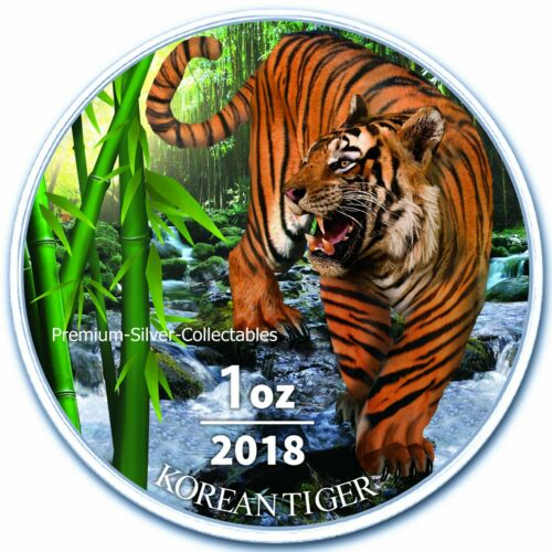 2018 South Korea Tiger  - 1 Ounce Pure Silver and Colorized!