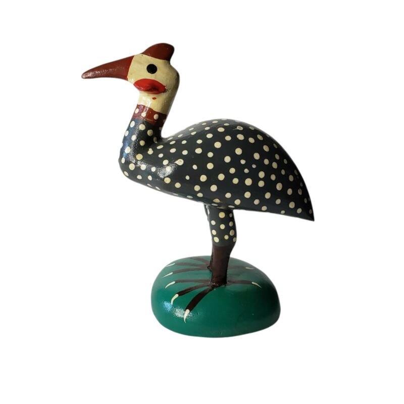 Juan Puello R.D. Brazil Hand Painted Carved Wood Bird Sculpture 6.5 inches