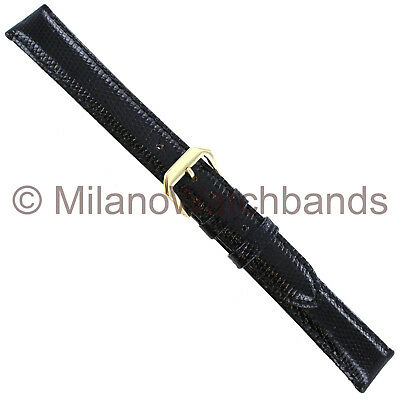 16mm Kreisler Genuine Lizard Black Stitched Padded Mens Watch Band Long