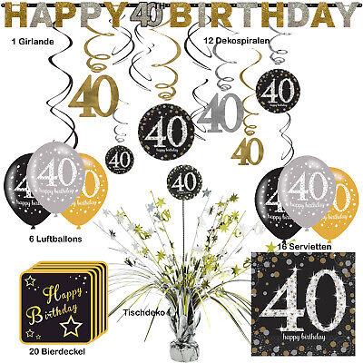 56 tlg. Partyset zum 40. Geburtstag Dekopaket Tischdekoration Partyzubehör Deko (40 Geburtstag Party Dekorationen)