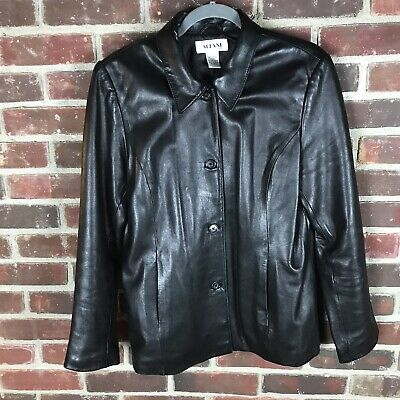 Classic Womens-Alfani-Black Genuine Leather Jacket L Lightweight