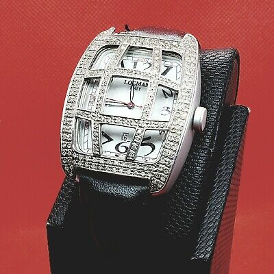 Collectible Rare Vintage Designer Locman Italy Watch with Real Diamond Cover