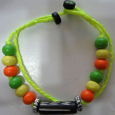 Neon Yellow Bracelet Wristband Bangle Mens Ladies Wood Beads Surfer - Neon Yellow Wristbands