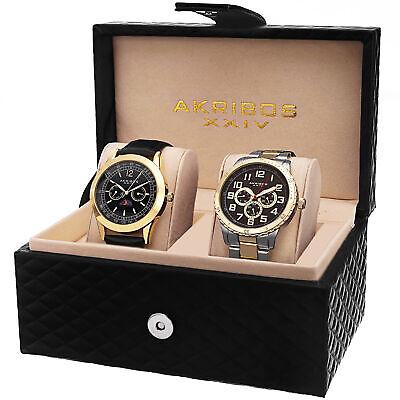 Akribos XXIV AK740YG Men's Quartz Multifunction Strap/Bracelet Watch Set