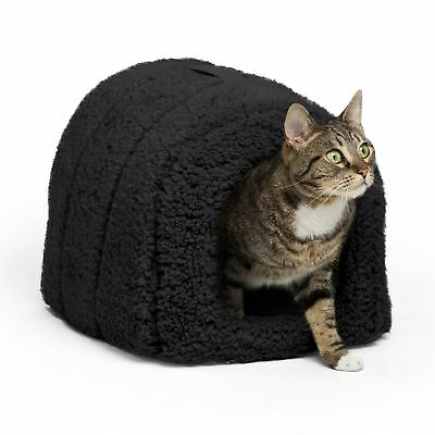 Best Friends by Sheri Pet Igloo Hut, Sherpa, Black - Cat and Small Dog Bed