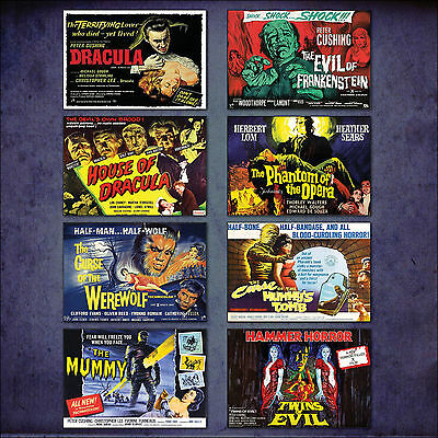 Hammer Horror classic Film Poster Set of 8 large fridge magnets No.2