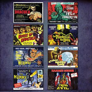 Martillo-Horror-Clasico-Pelicula-Poster-Conjunto-de-8-Grande-Imanes-nevera-N-2