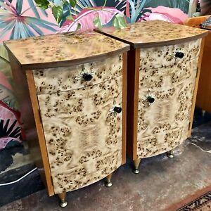 Pair of Vintage Bedsides in Birds Eye Maple Veneer