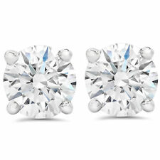 F SI 1.50 ct Round Round Diamond Studs with Screw Backs 14k White Gold Enhanced