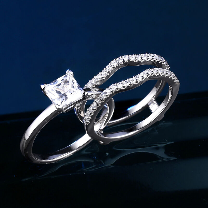 Wedding Engagement Ring Set For Women 1.2ct Princess Aaaa Cz 925 Sterling Silver