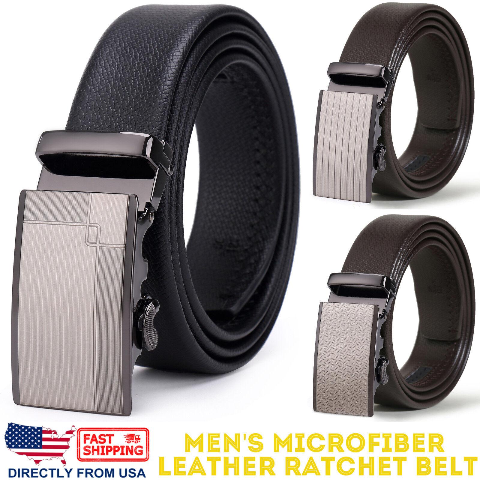 Men's Dress Belt, Microfiber Leather Automatic Buckle Ratchet Belt Belts