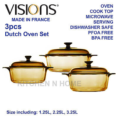 Visions 3pc Glass Casserole Set, Cookware set, Cooking Pot, Made in France