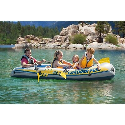 Intex Inflatable Explorer Pro 400 4 Person Boat Zodiac Raft With Oars And Pump
