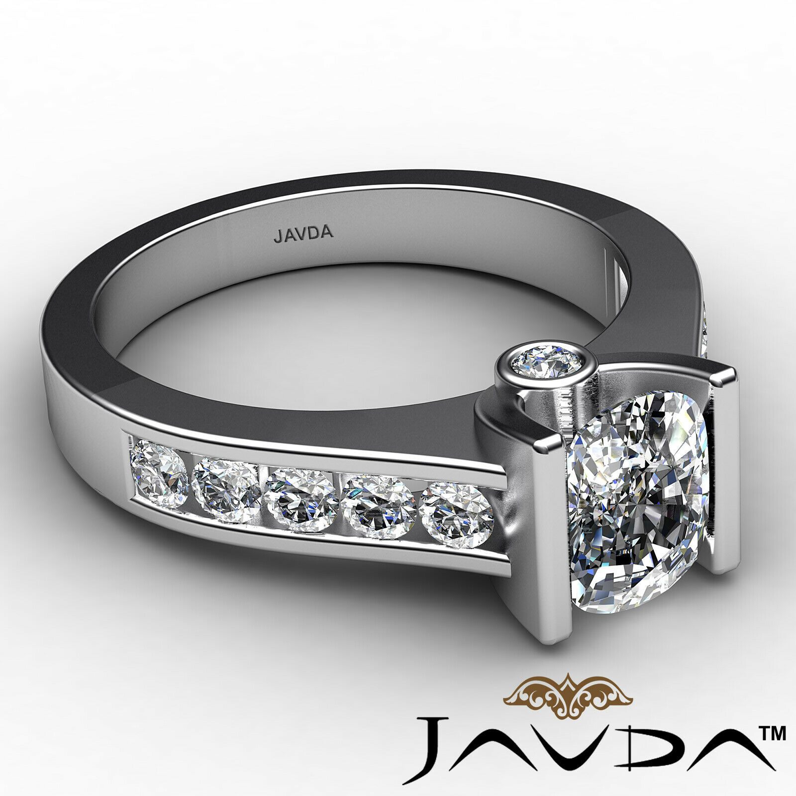 Bezel Cushion Diamond Engagement Women's Ring GIA, J Color SI1 clarity 1.53 ctw. 6