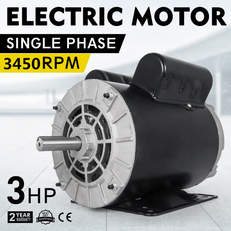 3450RPM 60 Hz 3HP SPL1Phase Electric Air Compressor Duty Motor 56 Frame 5/8""