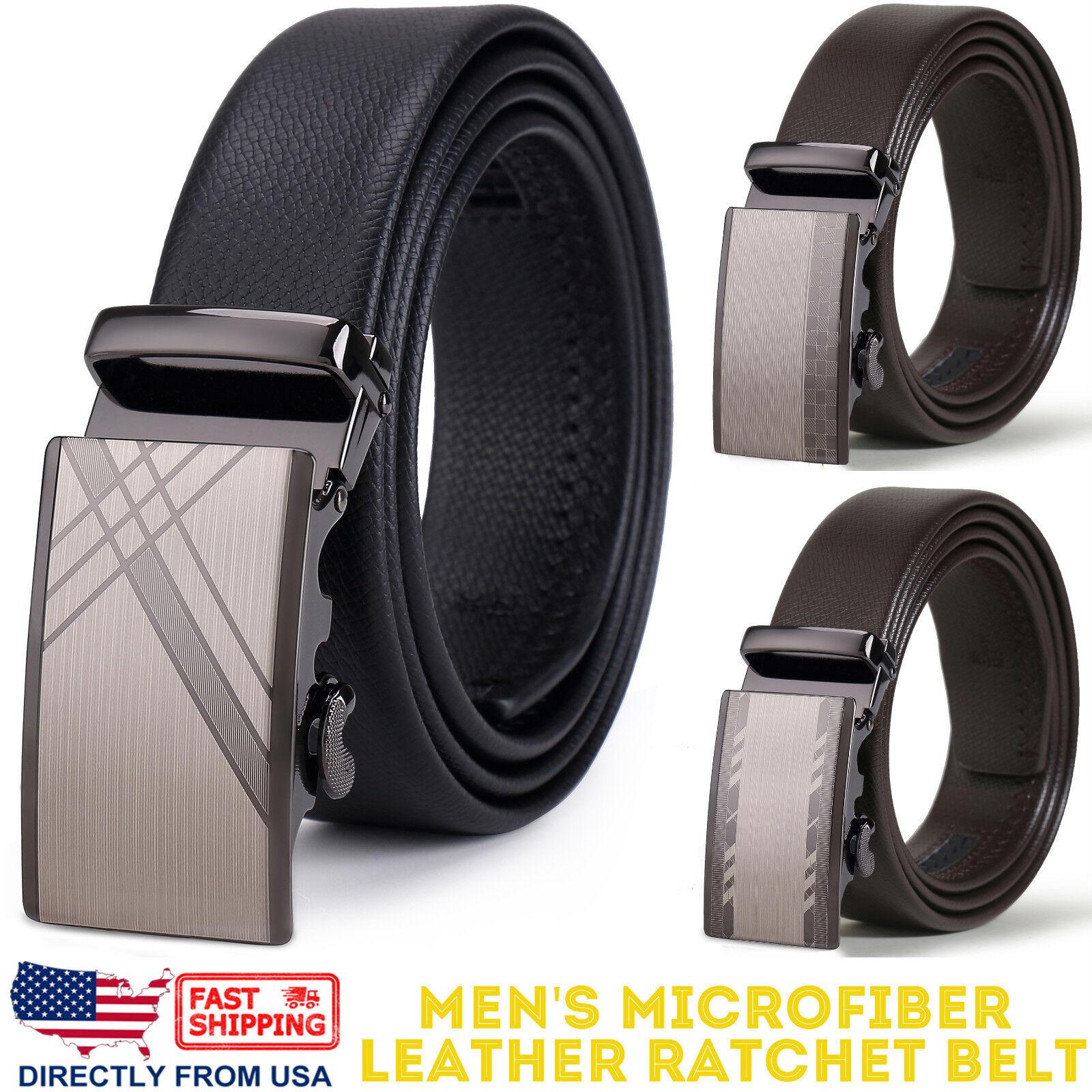 Men's Dress Belt Microfiber Leather Automatic Buckle Ratchet Belt Belts