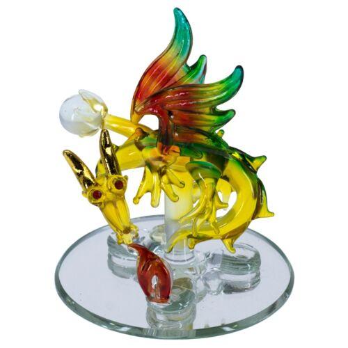 "Hand Blown Glass Fire Breathing Dragon Figurine On Mirror Base 3.75"" High New"